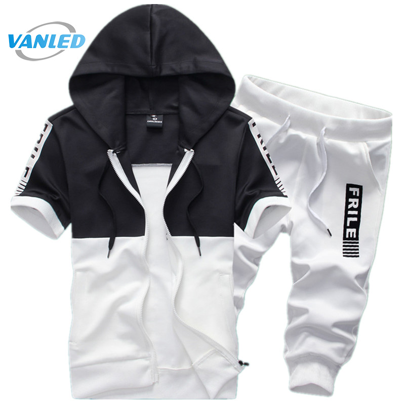 Men Movement Male 2017 Hot Fashion Boutique Men'S Short Sleeve Hoodie + Casual Pants Summer Shorts 2PCS Male SportSuit