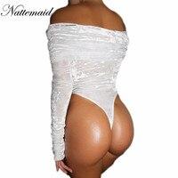 NATTEMAID Women Fashion Velvet Bodysuit Full Sleeve Tops Sexy Slash Neck Off Shoulder Jumpsuit Bodycon Clubwear