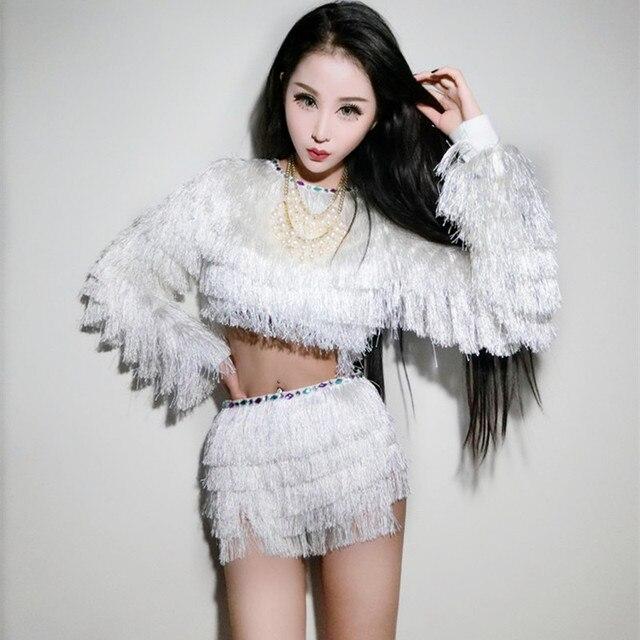 Nuevo blanco DJ cantante trajes DS sexy Jazz hip hop danza cuello falda  bailarines traje borla 0d0a9bb2f5c