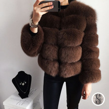 100% Natural Fox Fur Coats Winter Whole Skin Real Luxury Genuine Outerwear Feminino Short Style BF-C0021