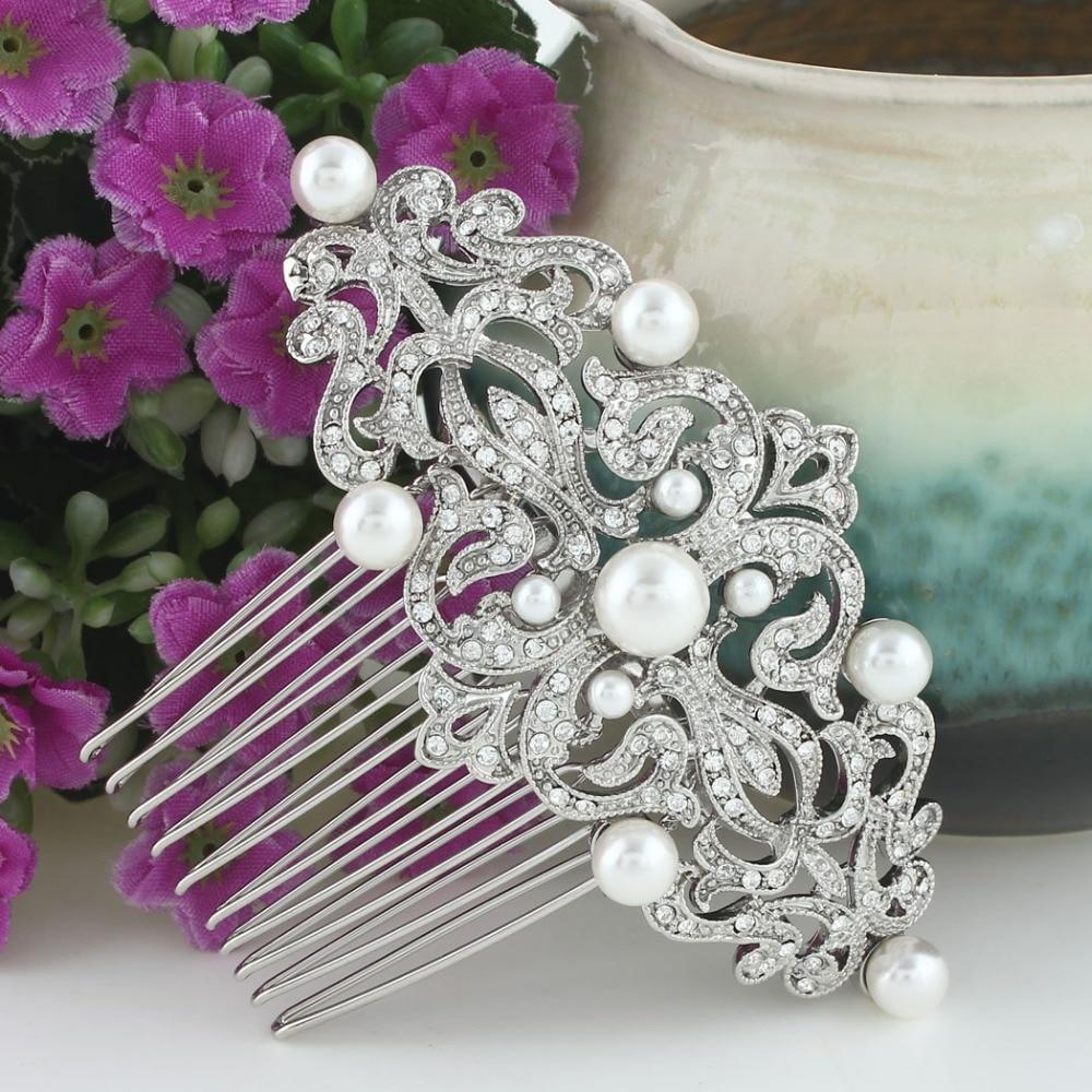 BELLA Bridal Austrian Crystal Hair Comb Pins Simulated Pearl Head Piece For Wedding Hair Piece Bridesmaid