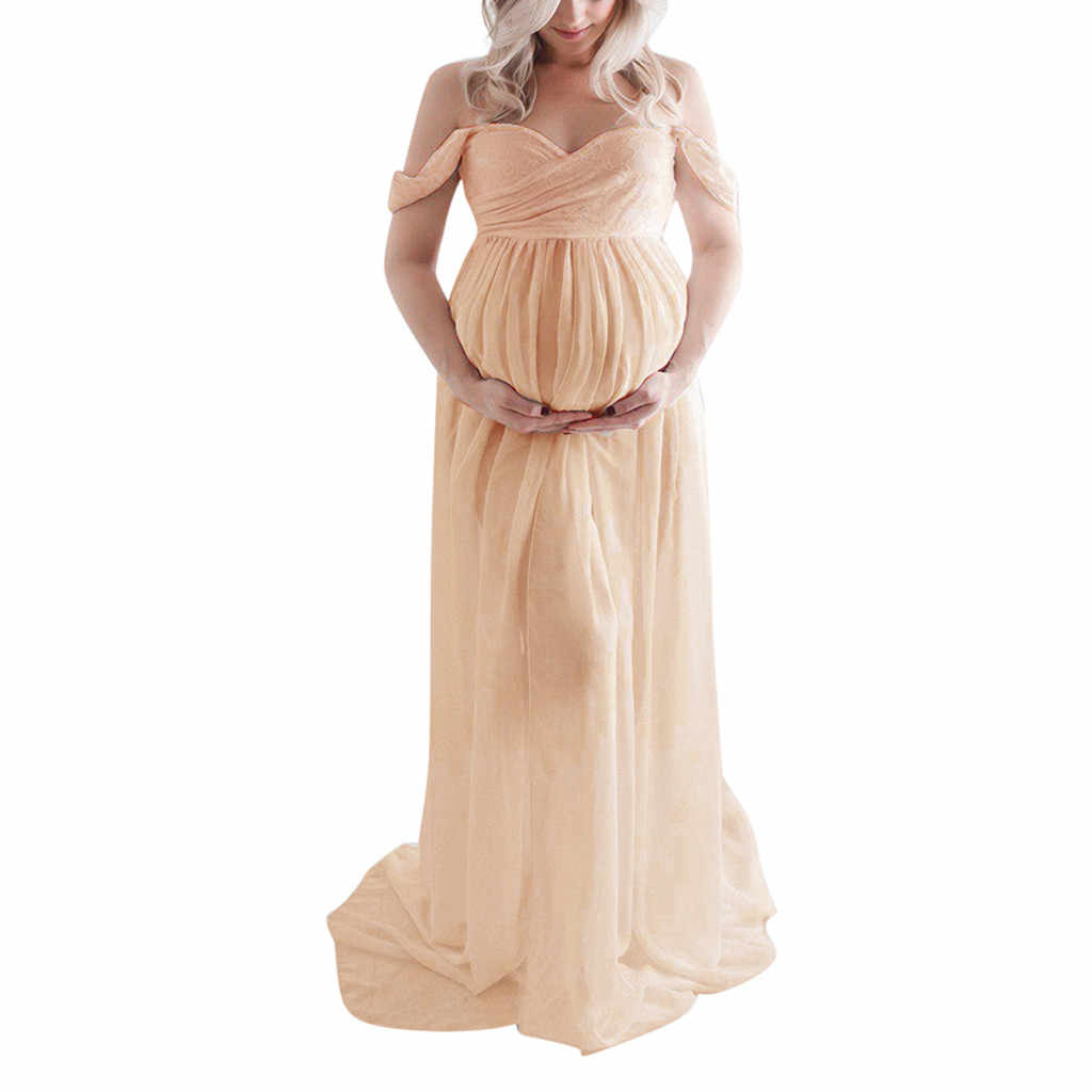 Vestido de maternidade mulheres fora do ombro grávidas sexy fotografia adereços babados enfermagem longo maxi vestido de gravidez #520