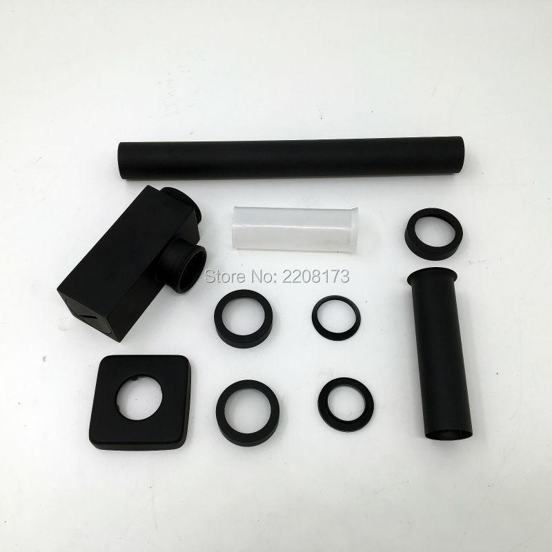 Smesiteli livraison gratuite finition noir mat 100% corps en laiton bouteille carrée plomberie p trap tuyau de lavage déchets salle de bains évier piège - 5