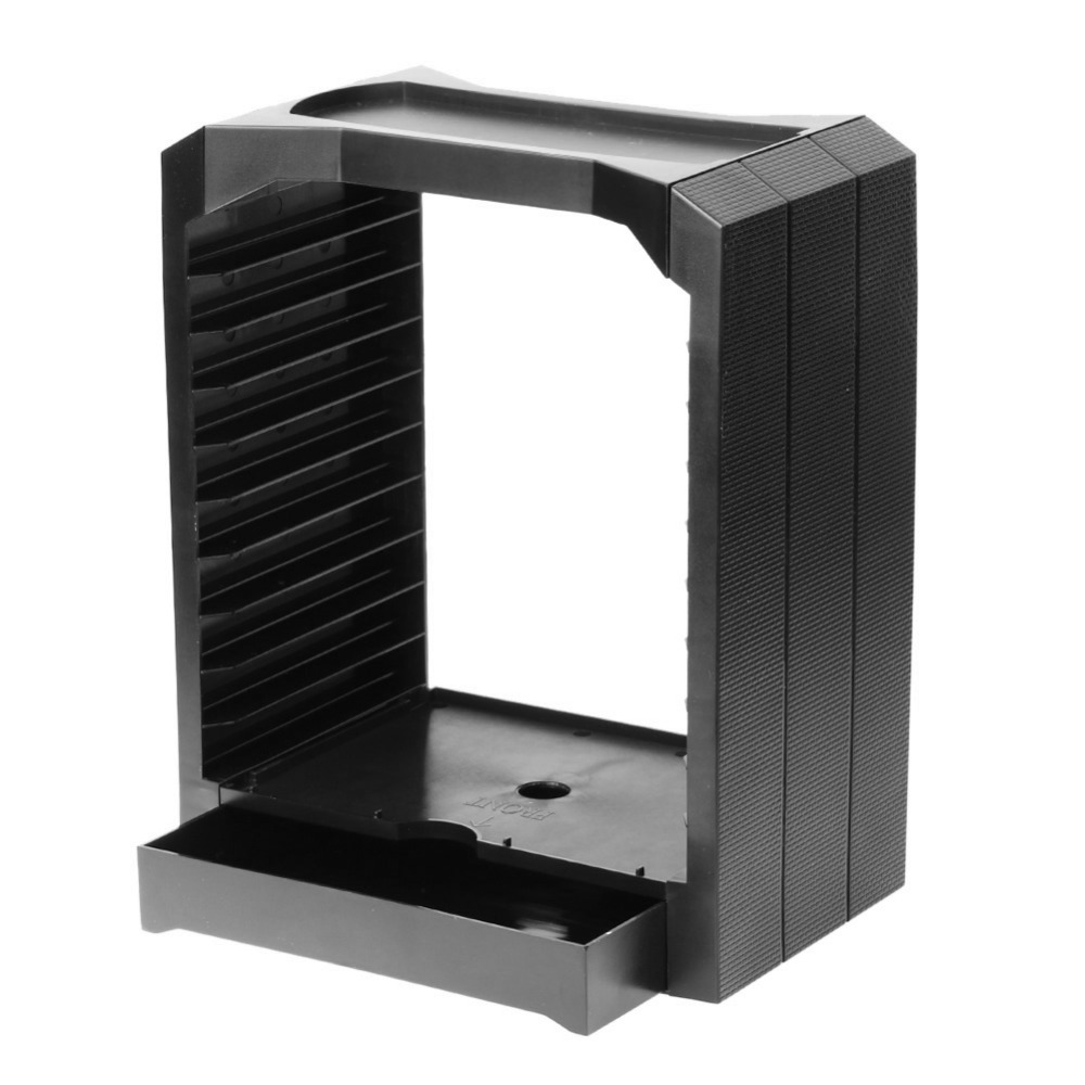 Black Multifunctional Universal Holds <font><b>up</b></font> to 10 Games or <font><b>Blu-ray</b></font> <font><b>discs</b></font> Storage Tower Holder for Xbox One PS4
