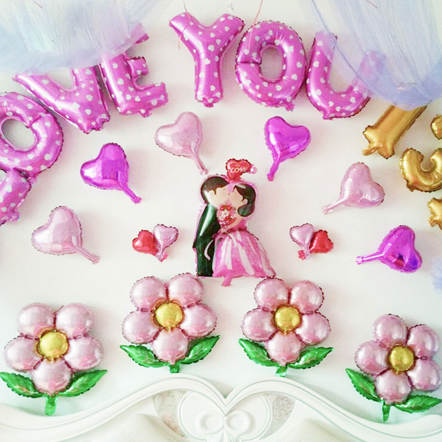 Happy Birthday 1pcs Flowers Balloons Aluminum Party Decoration Multicolor Toys For Childrens