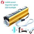 Powerful led flashlight 2000 lumens 18650 battery USB mobile phone charger Cigarette Lighter Multifunction flashlights