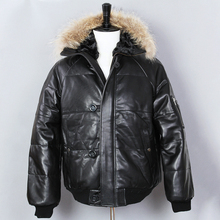 2018 thick leather down jacket men genuine fur hooded winter jacket black sheepskin duck down genuine leather coat for male cheap AVIREXFLY Short Full NONE REGULAR Casual COTTON Button f0003 V-Neck zipper Solid Leather Suede