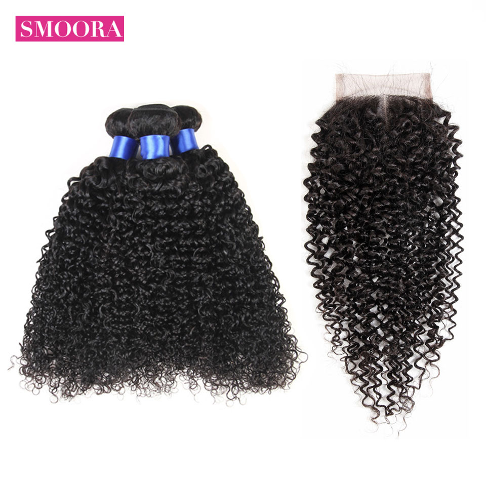 SMOORA Malaysian High Quality Kinky Curly Bundles With Closure Human Hair 3 Weaves With Closure Human Hair Extension NaturalHair