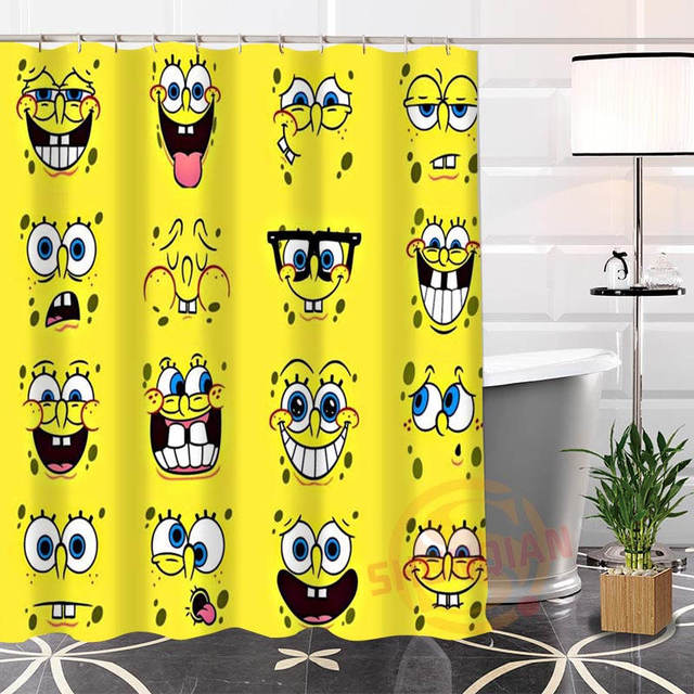 Best Nice Custom SpongeBob Shower Curtain Bath Curtain Waterproof ...
