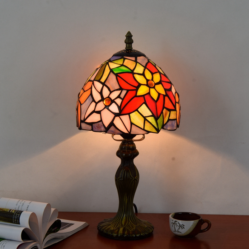 Originality Stained glass Garden Flower desk lamp American Pastoral Countryside Hotel Bar Bedside LED lamp 110-240V Dia:20CM