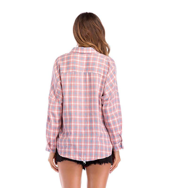 秋ピンクのチェック柄ブラウスとシャツ女性は長袖ターンダウン襟シングルブレスト春の綿カジュアルシャツ女性