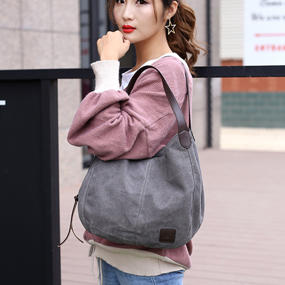 Canvas Handbags Solid Multi-Pocket Ladies Totes Female Hobos Single Shoulder Bags Vintage