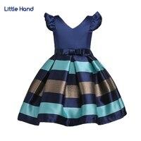 Girls Dress Cotton Kids Striped Navy Blue Ball Gowns Dress Waist Bow Tie Baby Sundress Children