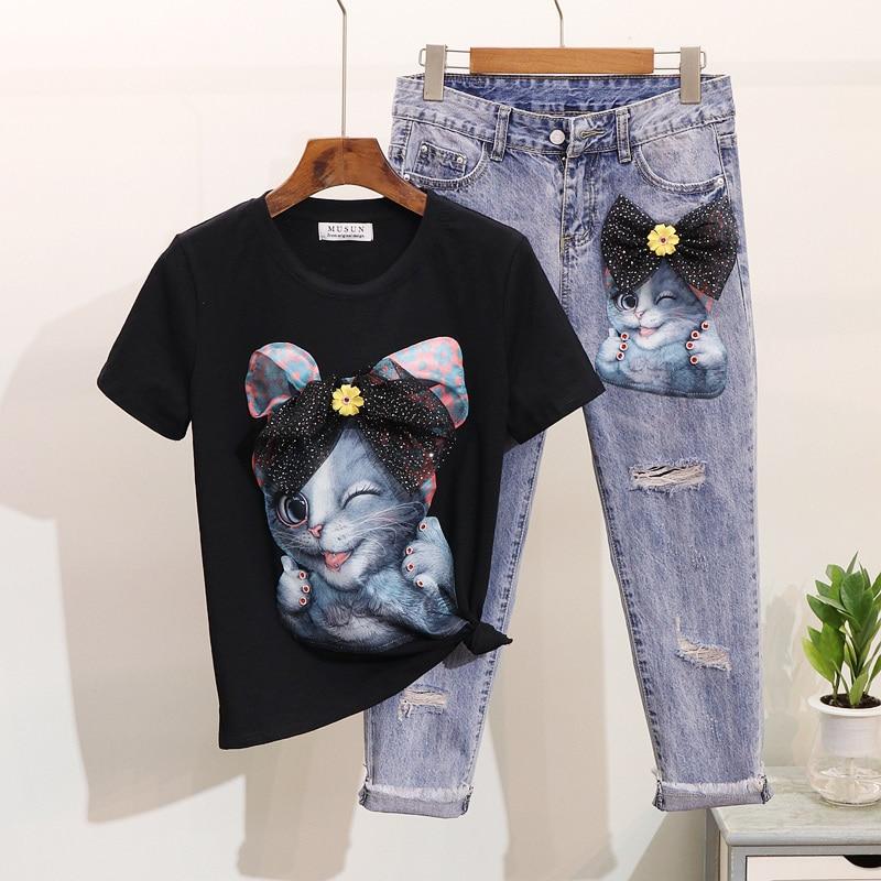 Femmes Ensembles Denim Nouveau Jeans Pantalon Courtes Costume Supérieure D'été Fille shirt Trou Manches Broderie Qualité 2 Étudiant T 2019 Pièce wqHA6xHY