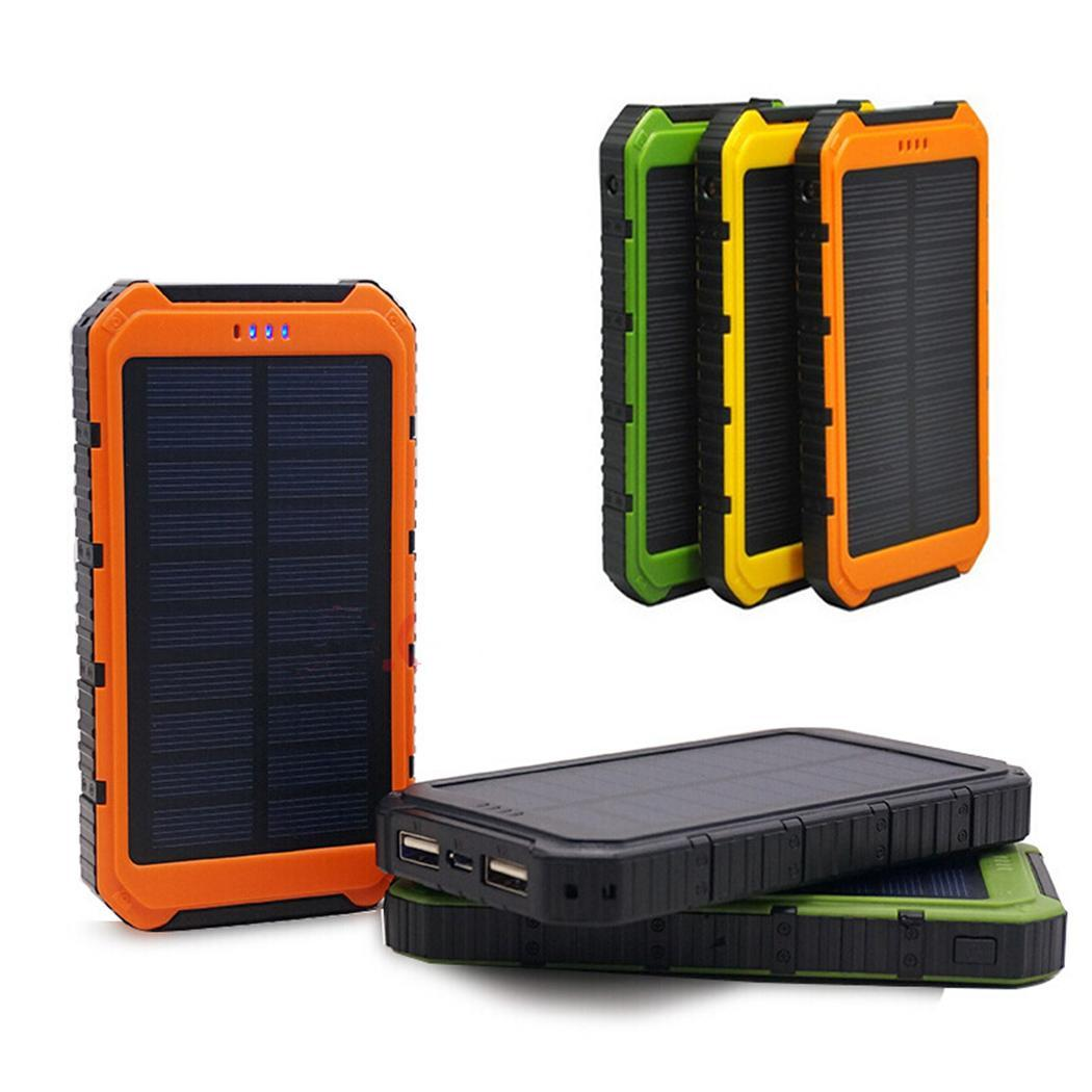 Outdoor Solar Power Bank Portable Dual USB Powerbank 10000mAh High Capacity Generic Solar-powered Mobile Charger With LED Light