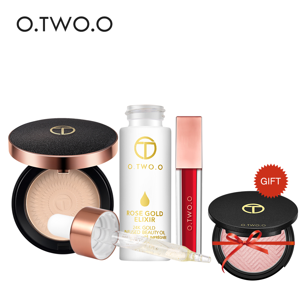 O.TWO.O Makeup Set Cosmetic Kit Face Powder, 24k Rose Gold Primer,Matte Lipgloss,Highlight Palette Free Gift Beauty Makeup Set