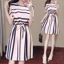 2019 Fashion Hot Women Summer Dress Striped Elastic Cord Slim Fit Short Sleeve Female Outfits HD88