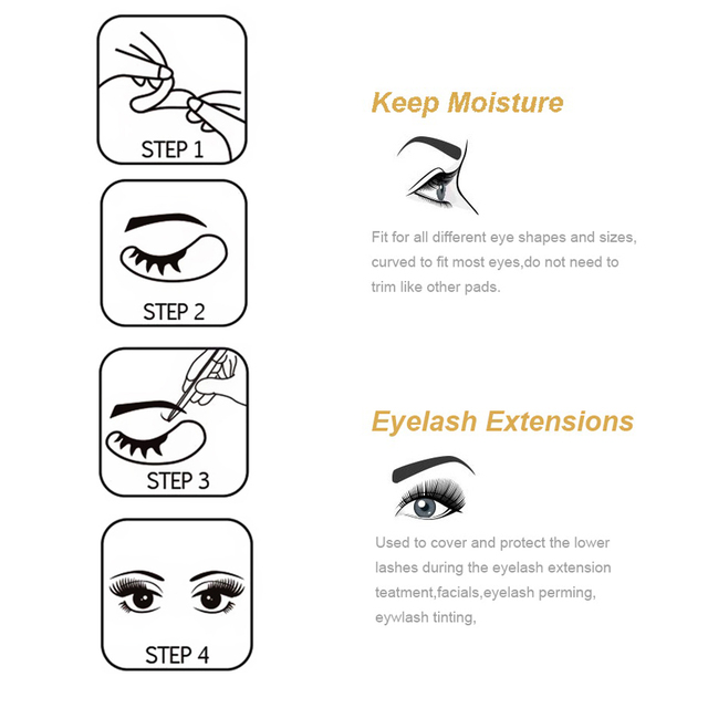 30/50/100 Pairs Eye Patches for Eyelash Extension,Under Eye Gel Pads Eyelash Extension Lint Free Paper Patches 5