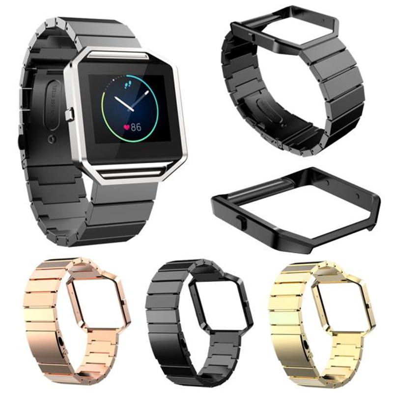 1 Set Top Bnand Durable High Quality Watch Bumper Frame Case + 23mm Stainless Steel Bracelet Strap Band For Fitbit Blaze Correa