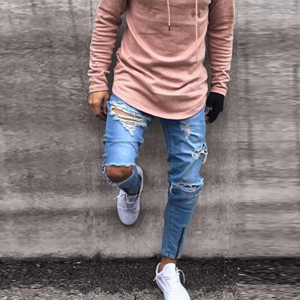Wholesale High Quality Men Slim Biker Zipper Jeans Skinny Frayed Pants Distressed Rip Trousers Solid Hole Mens Pants #3630