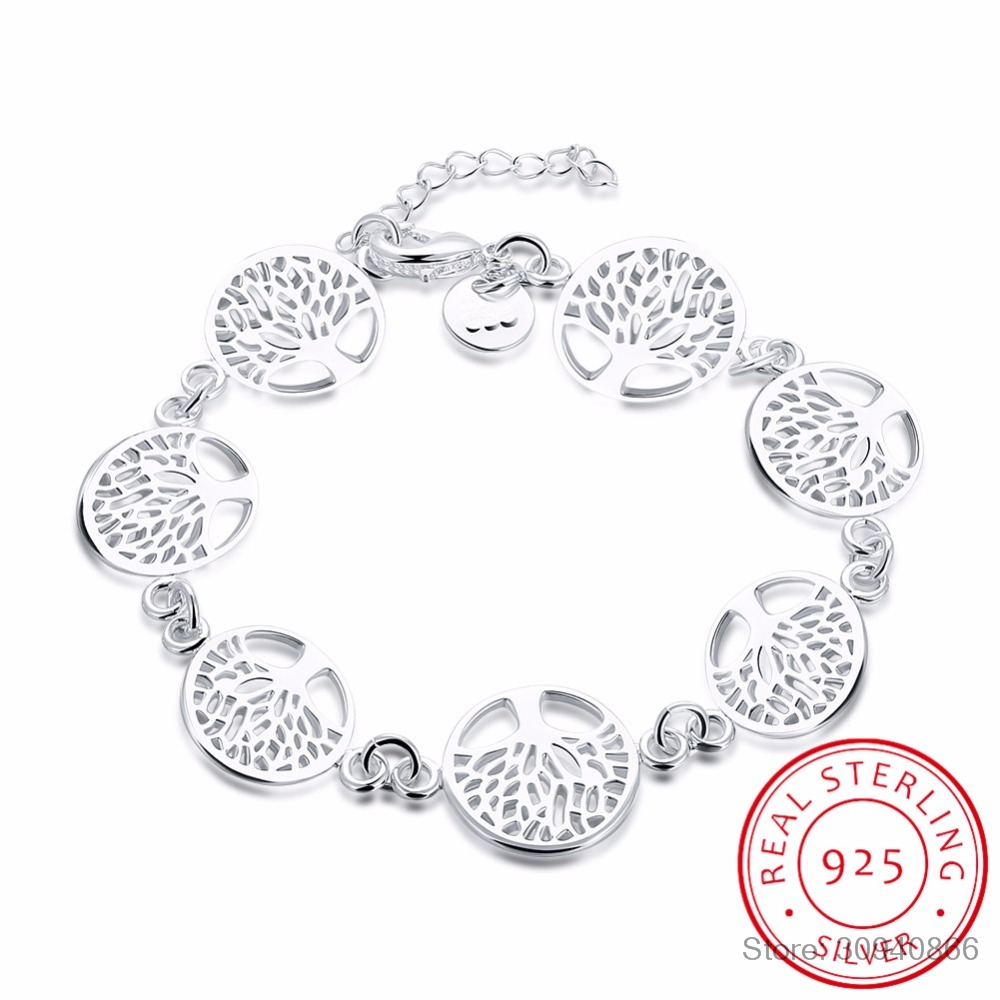 LEKANI 925 Sterling Silver Tree Of Life Bracelet For Women Personalized Bracelets&Bangle Birthday Gift Pulseras Mujer Moda