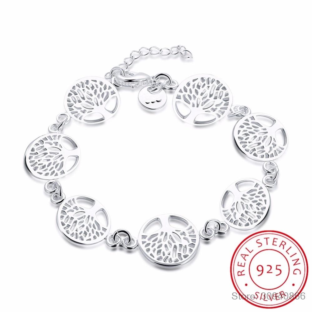 LEKANI 925 Sterling Silver Tree Of Life Bracelet For Women Personalized Bracelets&Bangle Birthday Gift Pulseras Mujer Moda