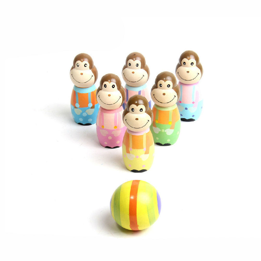 2018 N Children Toys Baby Sporting Cartoon Monkey Bowling Ball Game Wooden Indoor Outdoor Kids Educational Toy Gifts 88