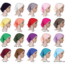 2019 women plain Inner cotton scarf Head hijab Islamic headwrap solid full cover-up femme ladies bonnet hat muslim hijabs store