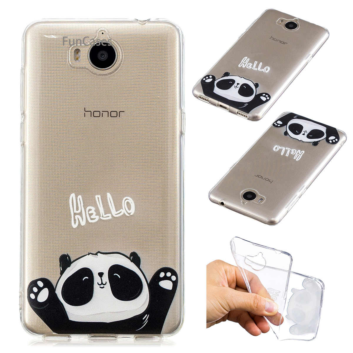 Hello Panda Phone Case sFor Etui Huawei Y5 2017 Soft Silicone Back Cover Hoesje Phone Case Huawei Ascend Y6 2017 Honor Play 6