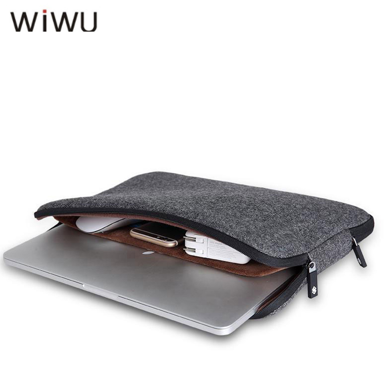 WIWU New Fashion Laptop Sleeve Man Women Bags Wool Felt Notebook Bag 11 12 13 15 For Macbook Pro Air Coffee Black Bags Hotsell