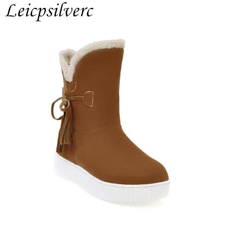 100% Wahr Winter Muffin Unten Dicken Boden Plüsch Schnee Stiefel Frauen Kurze Stiefel Baumwolle Gepolsterte Schuhe Plus Größe 35-43 Schnelle Farbe