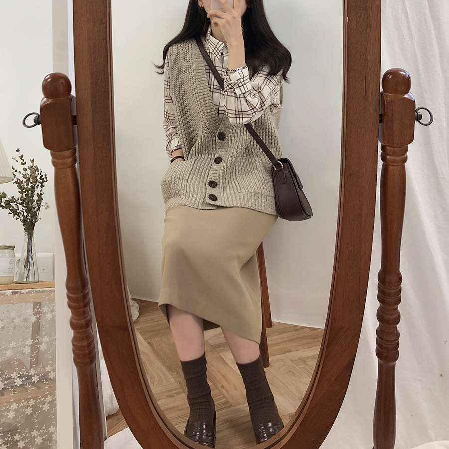 HTB13oL2Xs vK1Rjy0Foq6xIxVXa9 - Solid Black Brown Mid Calf Women Skirt Vintage Spring Summer Straight Skirt Long Office Lady High Waist Girls skirts Femininas