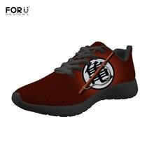 FORUDESIGNS eğlence erkek spor ayakkabı moda Anime Dragon topu Z baskı hafif daireler genç erkekler için dantel up örgü ayakkabı