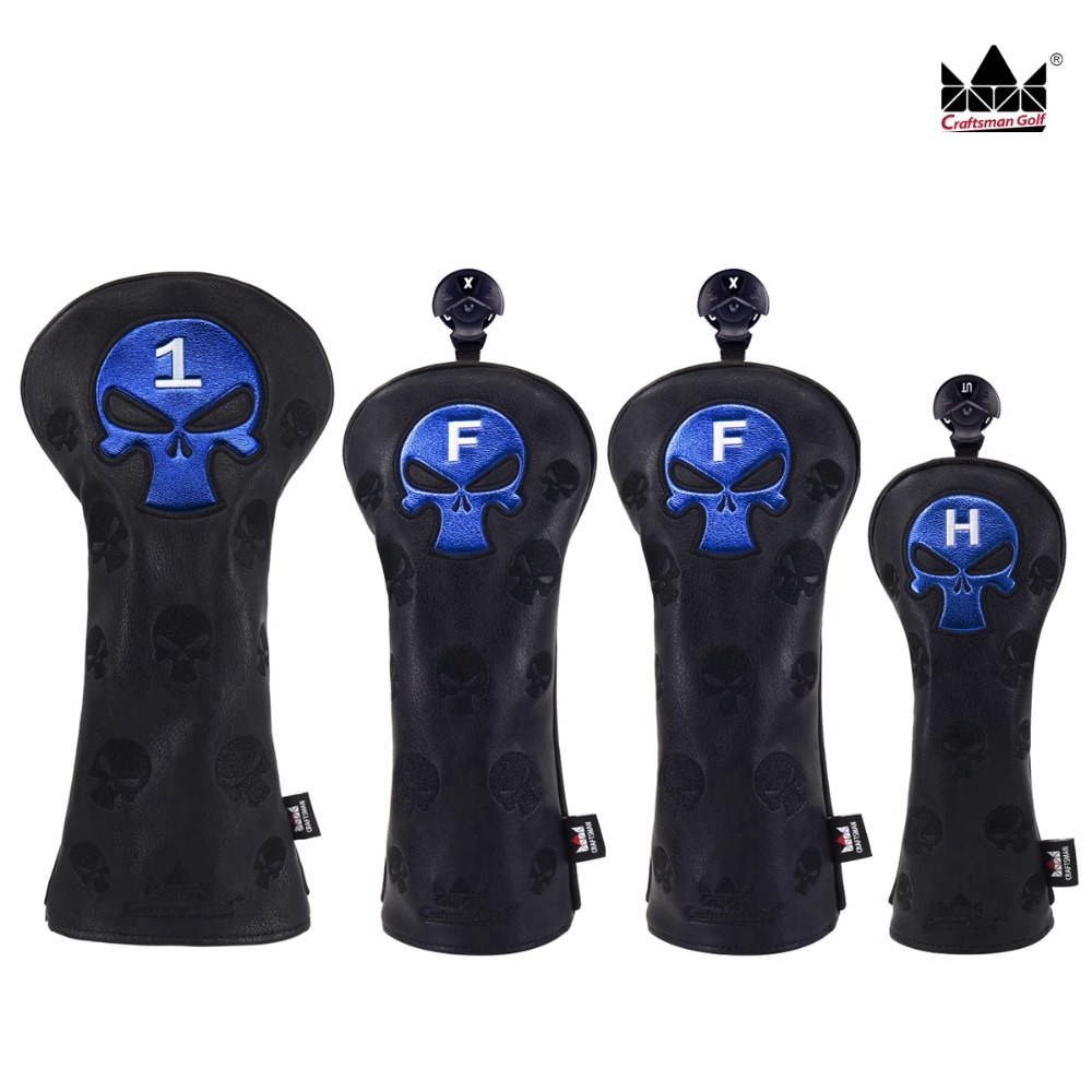 Craftsman Golf Headcover Sets For Woods Headcovers Golf Set Driver / Fairway&FW / Hybrid&UT Skull Embroidery Free Shipping