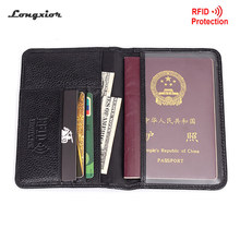 Passport wallet RFID BLOCKING top grain genuine cow Leather leather passport cover+ Identity Theft protection mens wallet MRF6(China)