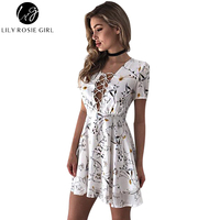 Lily Rosie Girl Women 2017 White Sexy Deep V Neck Floral Summer Mini Dress Causal Print
