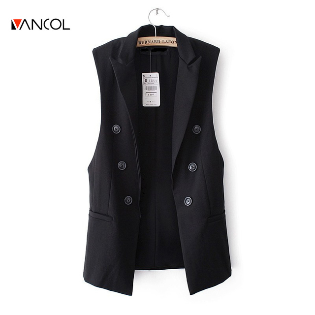 Vancol 2016 New Summer Vest Suit Sleeveless White Black Fashion Brand Design Solid Color Turn Down Collar Pocket Long Women Suit