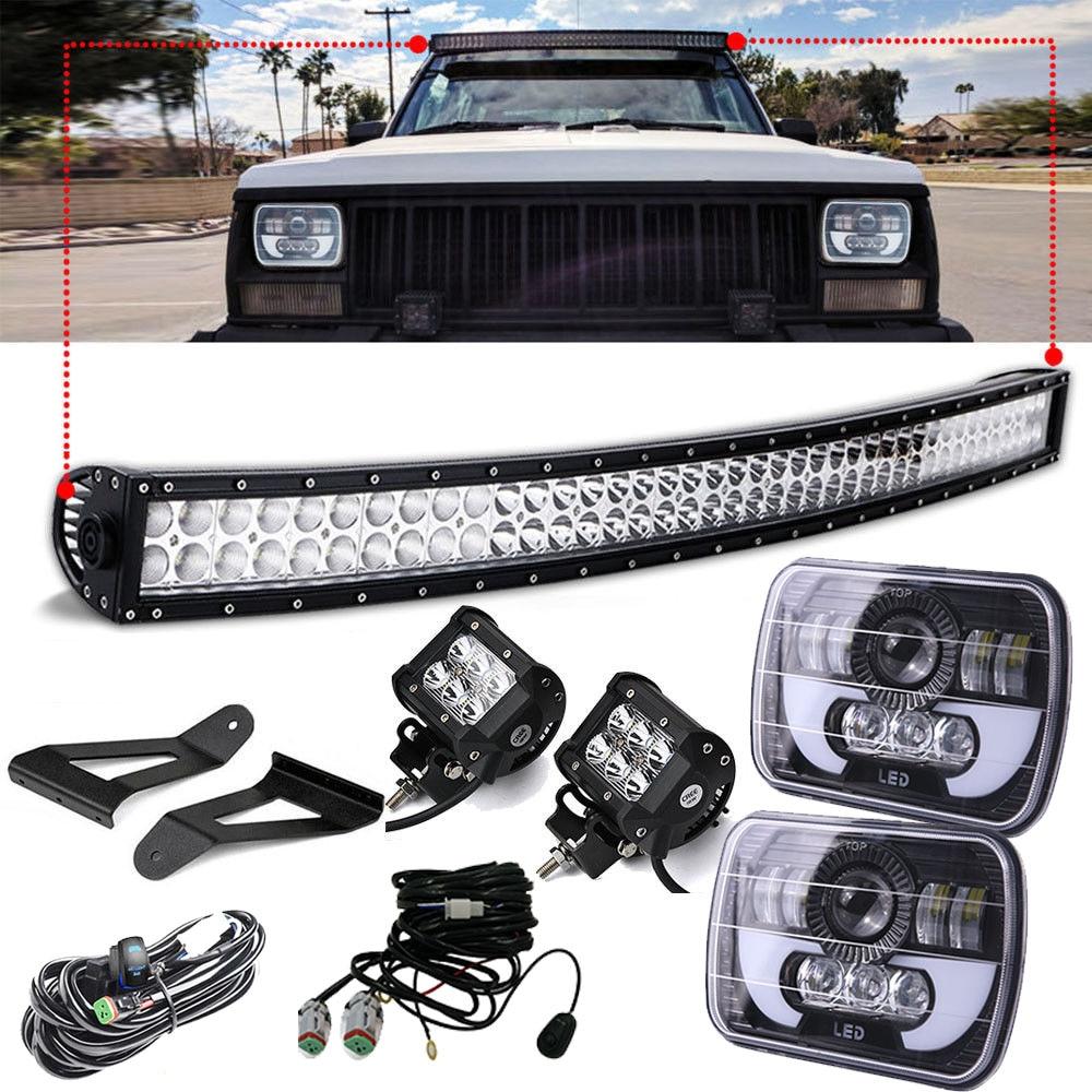 50 LED Light Bar w/ Windshield Bracket + 2x 4 Pod Spot Led Work Light + Pair 7X6 Led Headlight for Jeep Cherokee XJ 1984~2001