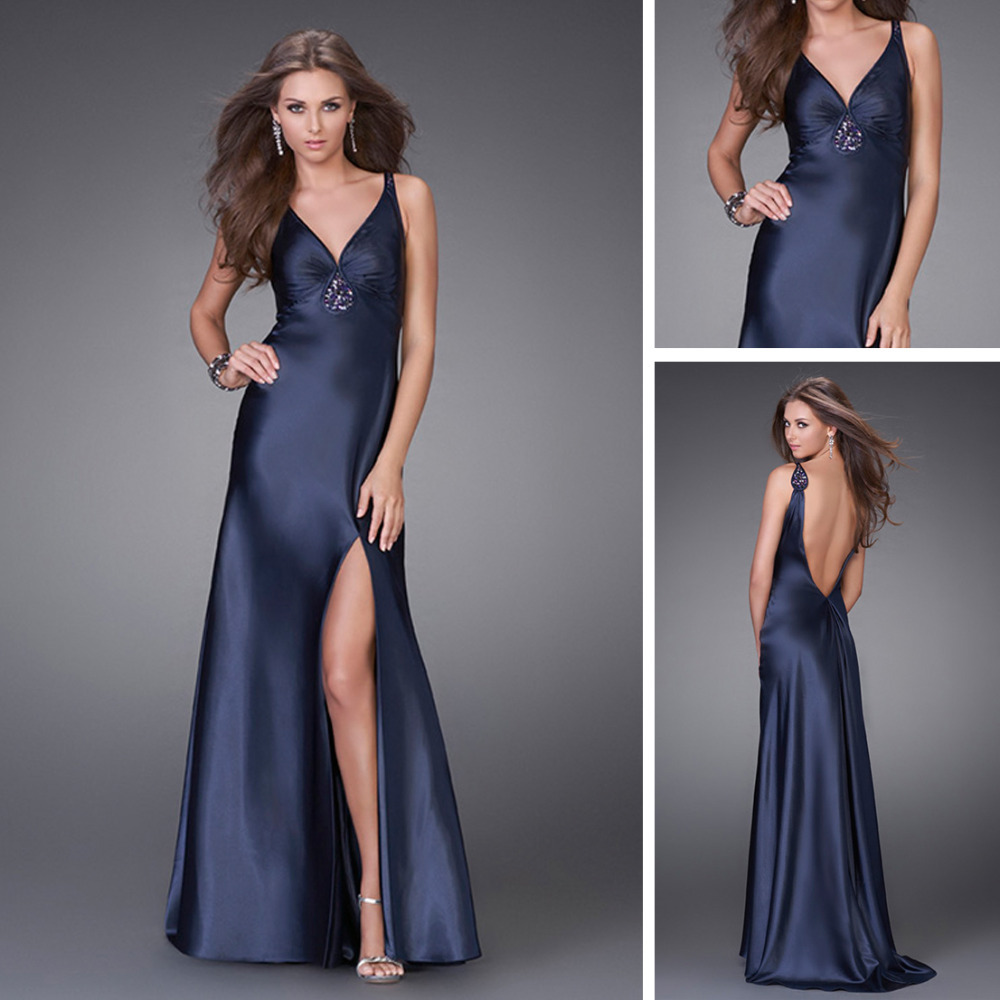 Dark Blue Dress Silver Shoes
