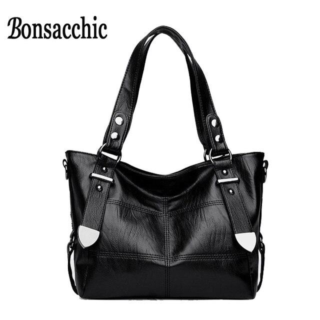 Bonsacchic маленькие женские сумки черные женские ручные сумки с заклепками  с верхней ручкой сумки через плечо 03f0877bfc8