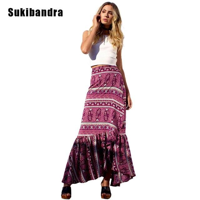 1318ae35d34 Sukibandra Summer Beach Bohemian Vintage Floral Print Long Maxi Skirts for Womens  Boho Chic Split Ruffle