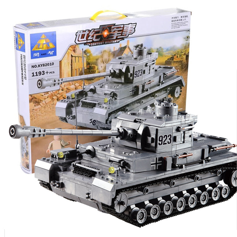 KAZI Building Blocks 82010 Armored Tanks  Panzer IV F2 Type Fight Inserted Blocks Educational toys Children's Holiday Gift puzzle toy building blocks assembled fight inserted toys
