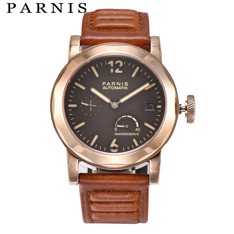 Fashion Men Watch Power Reserve Men's Mechanical Watches 43mm Parnis Coffee Dial Sea-gull 2530 Mens Automatic Watch Brands все цены