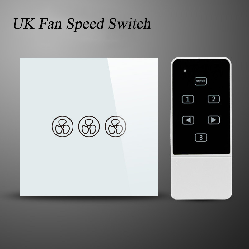 UK Crystal Glass Panel Ceiling Fans 3 Mode Speed Control Touch Switch Remote Con