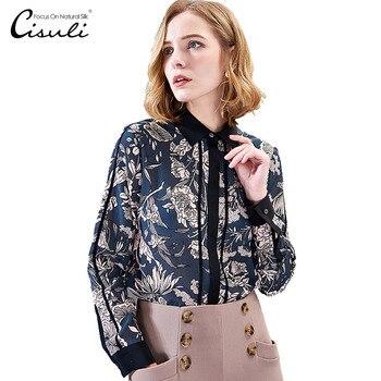 CISULI 100% Silk Crepe Shirt Printed Summer Shirt Women Long Sleeve Office Lady Shirts