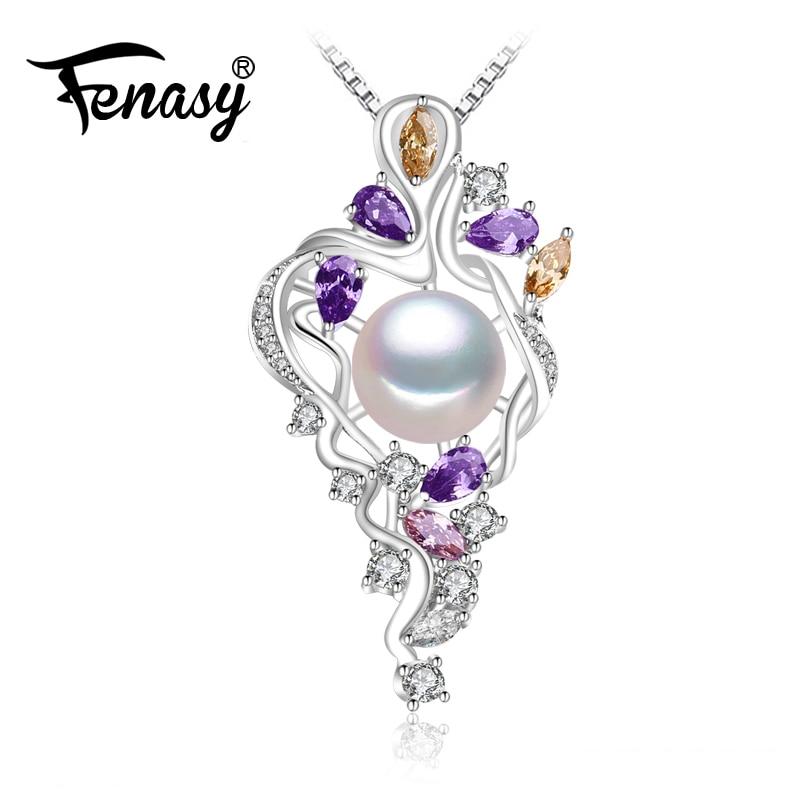 FENASY 925 sterling silver flower necklace,Fine jewelry statement necklace,Pearl pendant Yellow gem ,Purple gem Bohemia necklace alloy rose flower pendant necklace