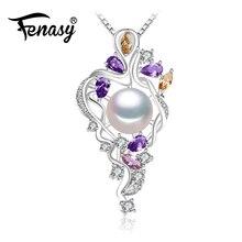 Fenasy 925 flor de plata sterling collar, joyería fina collar llamativo, perla colgante gema amarilla, gema púrpura collar de Bohemia(China (Mainland))