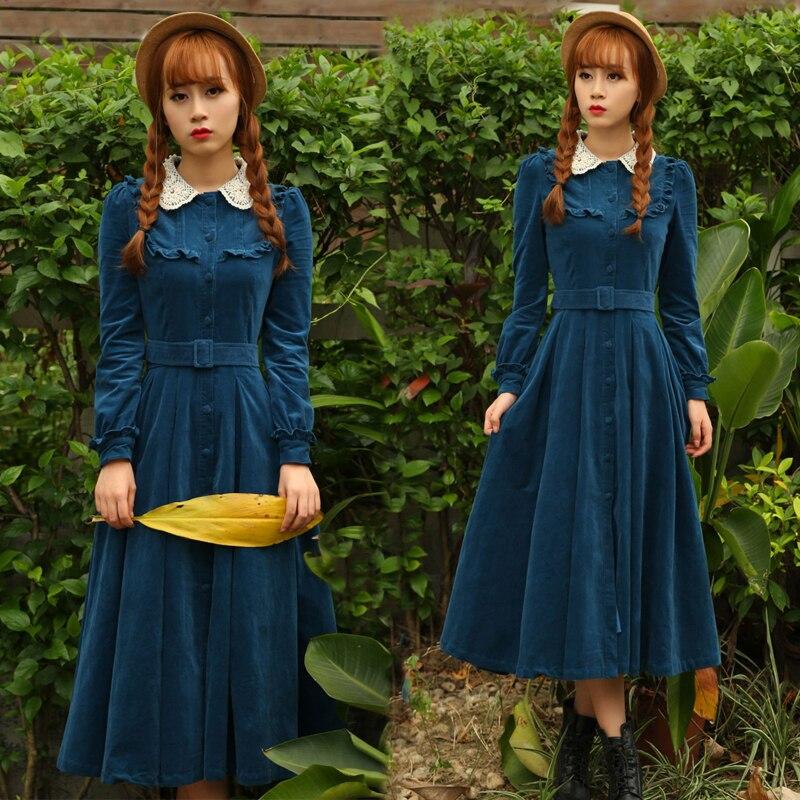 Printemps mode marque velours tissu style rétro dentelle robe femme de haute qualité simple boutonnage longue dentelle robe wj1946 avec ceinture