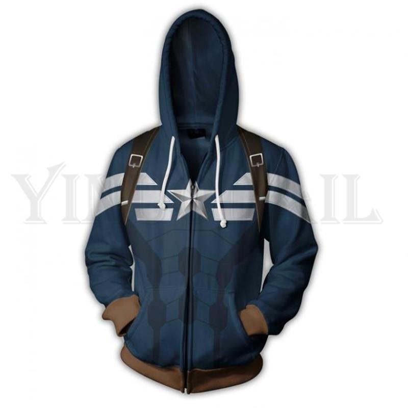 Men And Women Zip Up Hoodies The Avengers Hero Hooded Jacket Mravel Superheroes Sweatshirt Captain America Streetwear Costume