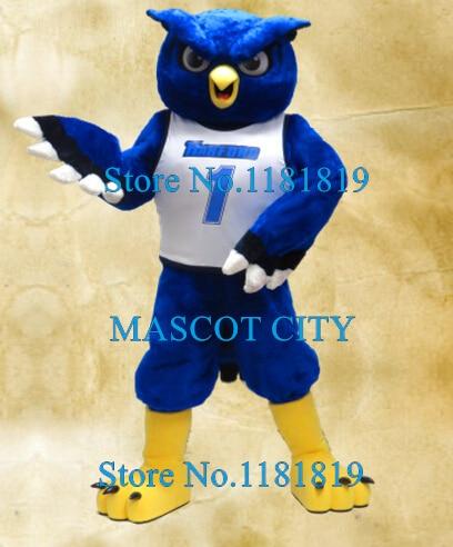 Azul da coruja de noite traje dos desenhos animados adulto buzina Kits Anime Cosplay tema Mascotte fantasia de escola de esportes